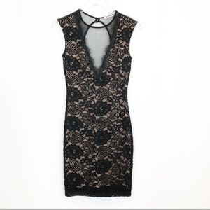 Mystic Black And Nude Lace Body on Dress